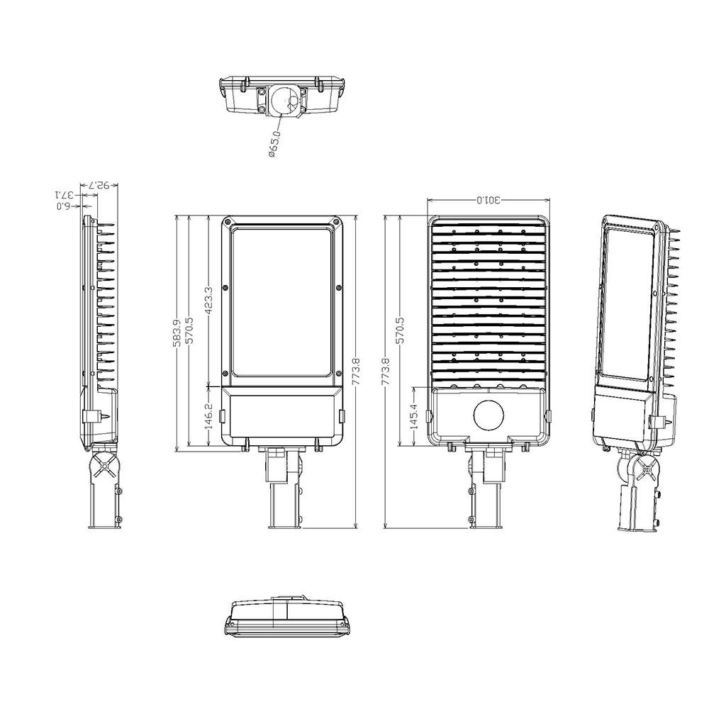 LED Street Light MLT-SL-BM Diensional Drawing