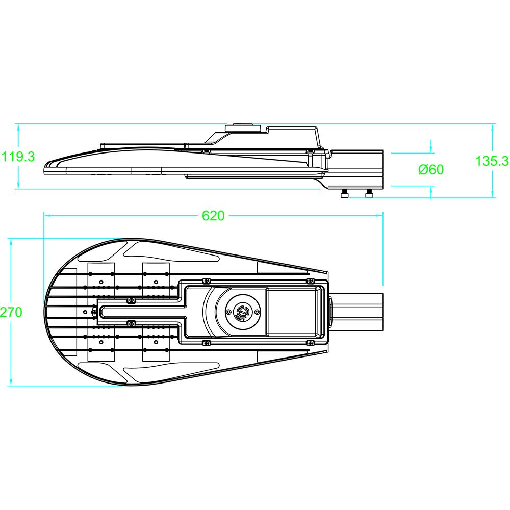 LED Street Light MLT-SL-CM Dimensional Drawing