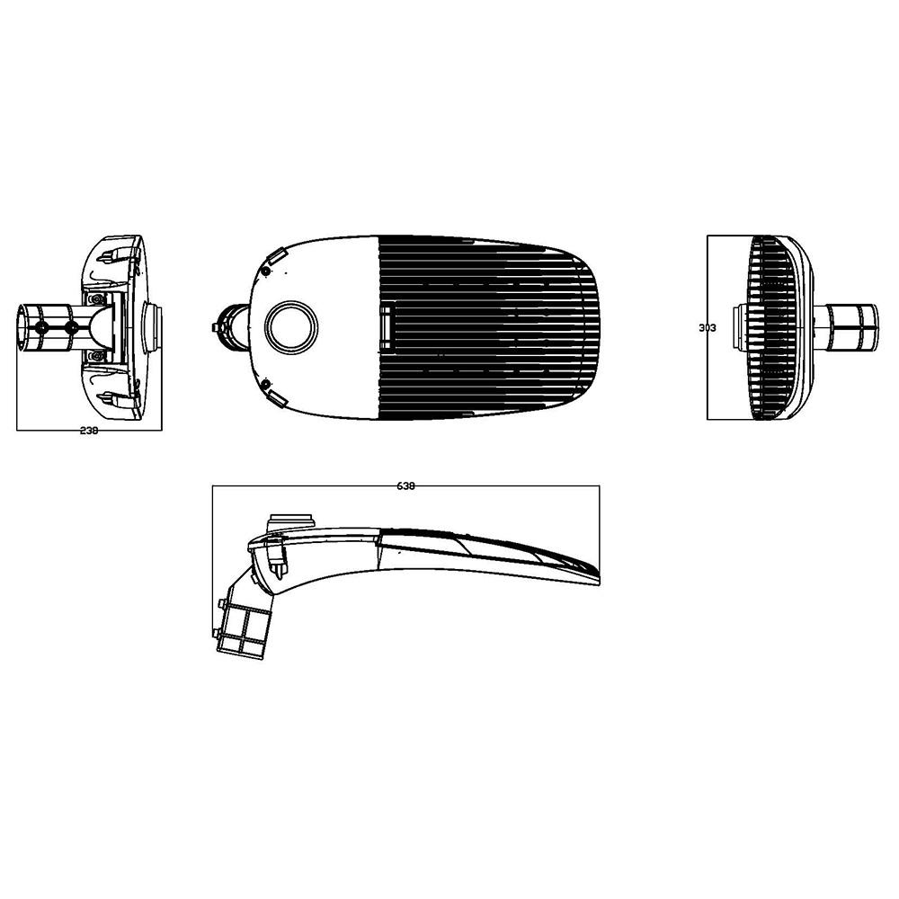 LED Street Light MLT-SL-DM Dimensional Drawing
